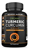 Organic Turmeric Capsules High Strength and Black Pepper with Active Curcumin with Ginger 1380mg - A...