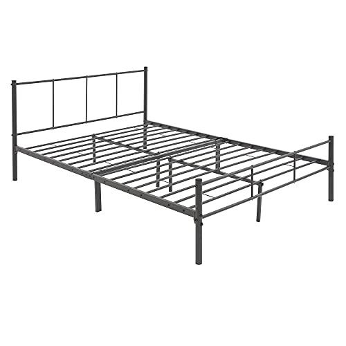 ML-Design Metallbett 140x200 cm auf Stahlrahmen mit Kopfteil und Lattenrost, Anthrazit, robuste Bettgestell, leichte Montage, Bett für Schlafzimmer, Erwachsene, Doppelbett Ehebett Jugendbett Gästebett