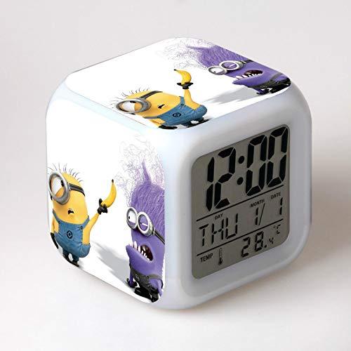 Ang Alarm Alarm Ng Mga Bata Ay Kumikinang Na Mga Ilaw Na 7 Ilaw Na Nagbabago Ng Mga Minion Ng Digital Alarm Clock Na Laruang Reloj Ng Mga Bata 20