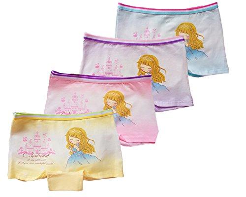 FAIRYRAIN FAIRYRAIN 4 Packung Baby Kleinkind Mädchen Schloss Baumwollunterhosen Pantys Hipster Shorts Spitze Unterwäsche 8-10 Jahre