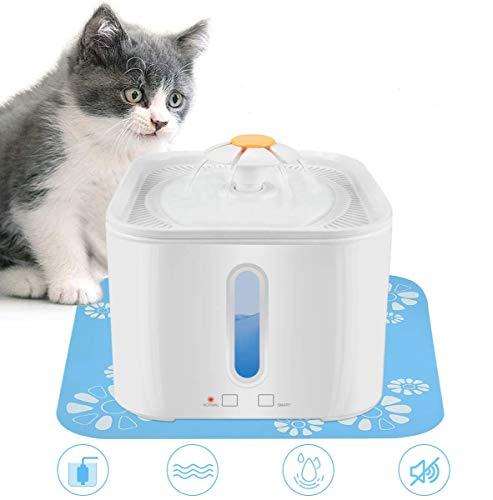 RIOGOO Fuente de Agua para Gatos, dispensador de Agua para Mascotas de 2.5L / 84oz con Bomba de Apagado automático, dispensador de Agua para Gatos Super Quite con indicador de luz LED Inteligente