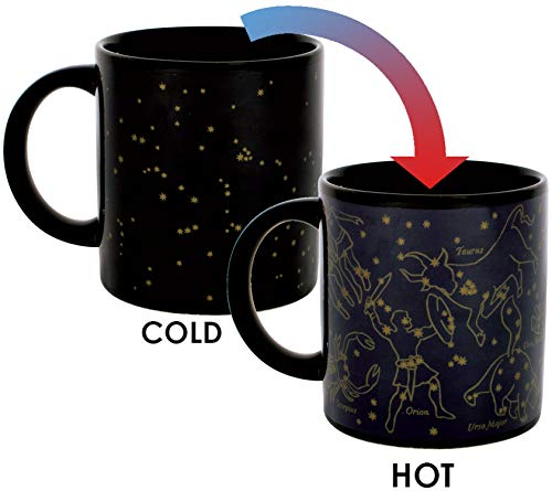 Heat Changing Constellation Mug - Gold Stars - Add Coffee or Tea and 11 Constellations Appear -...