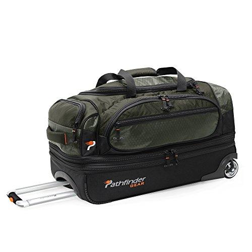 Pathfinder Gear 26 Inch Rolling Drop Bottom Duffel, Olive, One Size