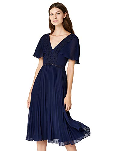 Amazon-Marke: TRUTH & FABLE Damen Partykleid mit Plisseefalten, Blau (Blue Blue), 32, Label:XXS