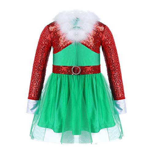 IEFIEL Halloween Cosplay Disfraz de Elfo Elfa Niña Tutú Vestido de Duende Lentejuelas Brillante con Sombrero Gorro Traje de Navidad Xmas 2-12 Años Rojo 9-10 años