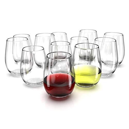 Chef's Star Stemless Wine Glasses Set of 6-17 0z. and Set of 6-21 0z. Oversized Wine Glass - Made from BPA-Free, Sturdy Glass - Dishwasher Safe - Perfect to Use As Red or White Wine Glasses
