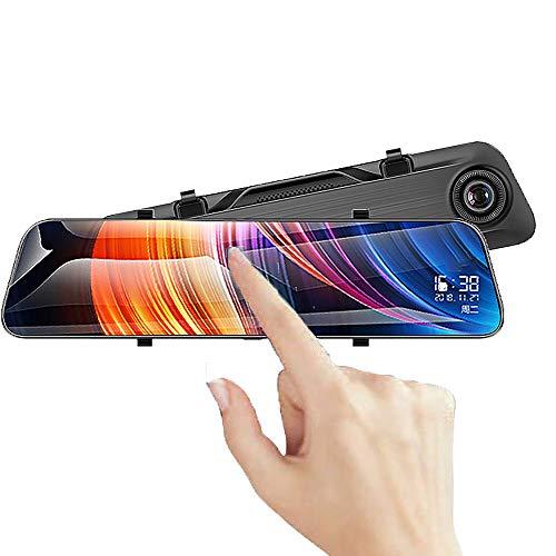 """WSJMJ DashCam Spiegel, 12\""""2K Ultra-Clear Picture170 ° Weitwinkel Voll-Touchscreen-Doppelkameras für Vorder- und Rückseite, mit HD-Loop-Aufnahme, mit Notfallaufnahme, Nachtsicht, Reverse-Monitor"""