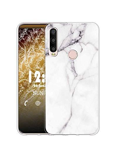 Sunrive Funda para Alcatel 1SE (2020), Silicona Slim Fit Gel Transparente Carcasa Case Bumper de Impactos y Anti-Arañazos Espalda Cover(TPU Mármol Blanco)