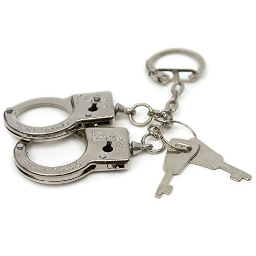 KIDSTHRILL Novelty Mini Handcuffs Party Favors   Set of 12 Thumb Finger Mini Handcuffs   Metal Handcuff Keychain with 2 Keys