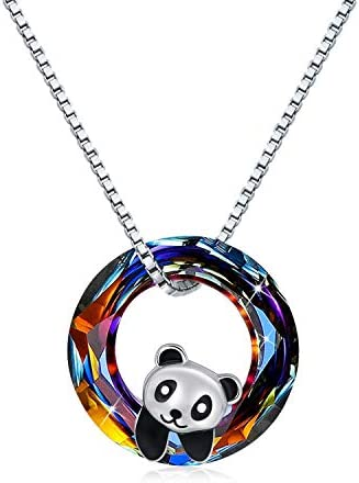 JUSTKIDSTOY Panda Necklace for Women 925 Sterling Silver Cute Animal with Crystal Pendant Necklace product image