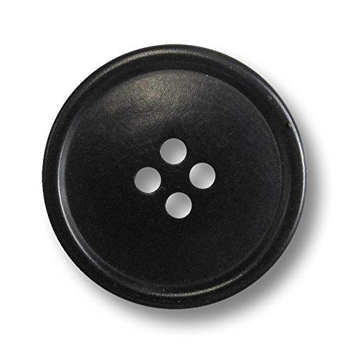 Knopfparadies - 5er Set große Schlichte Schwarze Vierloch Knöpfe aus echter Steinnuss mit leicht gewölbter Knopfmitte und schmalem Wulst Rand/schwarz/Steinnussknöpfe/Ø ca. 25mm