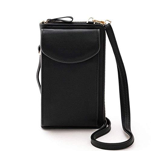 Bolso de piel sintética para teléfono móvil, bolso de mano, bolso de mano, bolsillo para teléfono móvil, cartera para mujer, color Negro, talla Small