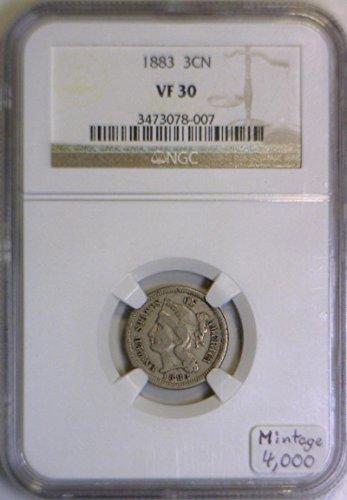 1883 P Nickel Three Cent VF-30 NGC