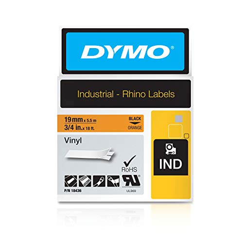 Dymo Rhino Band Industrie, Vinyl, 19 mm x 5.5 m, schwarz/orange