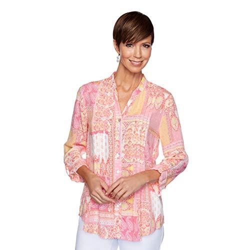 Ruby Rd. Camiseta de retales Polinesia para Mujer, Anaranjado, S Chiquita