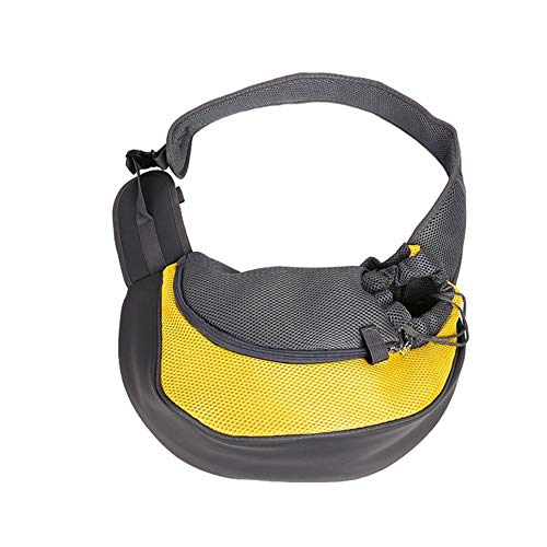 WOIA Travel Pet Puppy Dog Carrier Mochila Tote Bandolera Mesh Sling Carry Pack, Amarillo, L