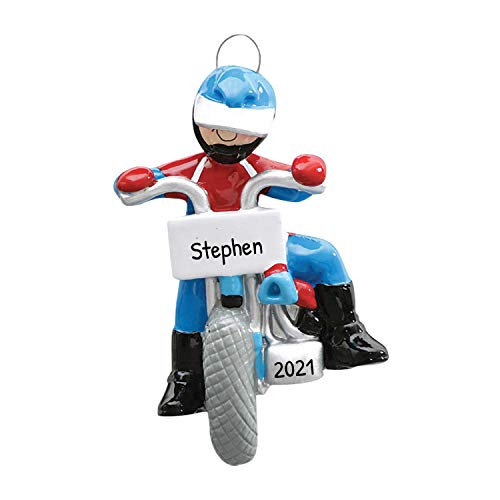 Personalized Dirt Bike Christmas Tree Ornament 2020 - Racer Athlete Cycling Blue Helmet Rough Terrain Extreme Sport Hobby Activity Girl Chopper Motorcycle Gift Year - Free Customization
