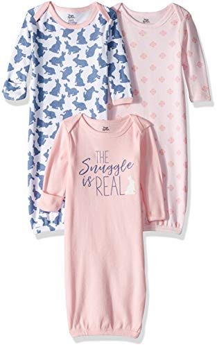 Yoga Sprout Unisex Baby Cotton Gowns, Snuggle Bunny, 0-6 Months