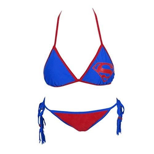 Superman Triangle Tassel String Bikini- XLarge Blau