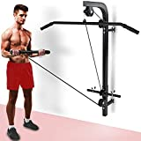 Senshi Japan Wall Mounted Cable Machine - Comes With Lat Bar And Straight Bar Attachments - Wall Multi-Gym With Screws And Fittings