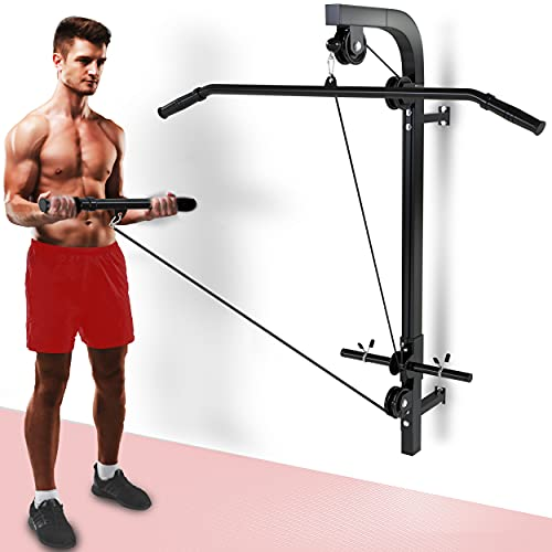 Senshi Japan Home Wall Mounted Cable Machine Pulley System - The Ultimate Multi Gym For Homes, Garage, Gyms, etc. - Comes With Lat Pull Down Bar and Straight Bicep Tricep Curl Bars