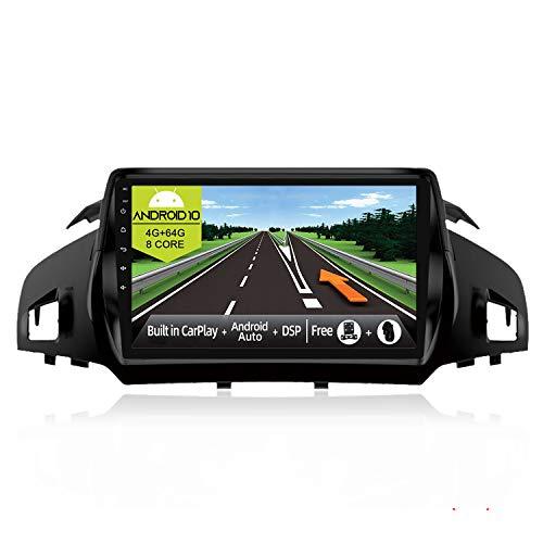 JOYX Android 10 Autoradio Compatibile con Ford Kuga (2013-2018) - [4G+64G] - [Built-in DSP/Carplay/Android Auto] - LED Camera Canbus GRATUITI - BT5.0 DAB Volante 4G WiFi 360-Camera - 9 Pollici 2 Din