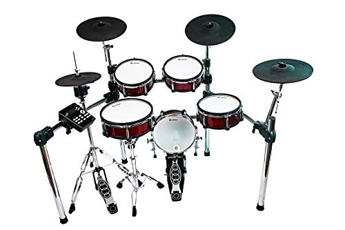 """Lemon T-850 9-piece Electronic Drum Set with One 1/4""""Expandable trigger input-Red,1 Pair of Drum Stick,1 Drum Stool Throne and Lemon Head Phone"""