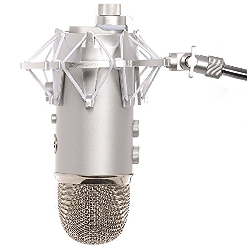 Knox Gear Shock Mount for Blue Yeti and Yeti Pro Microphones (Silver)