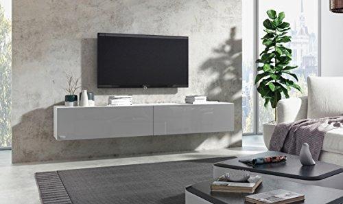 Wuun® Luno Korpus Weiß Hochglanz /160cm/Front Grau-Hochglanz /10 Größen/5 Farben/ TV Lowboard TV Board Hängend Hängeschrank Wohnwand