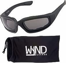 WYND Blocker Polarized Motorcycle & Fishing Floating Sports Wrap Sunglasses (Black/PZ Smoke Lens)