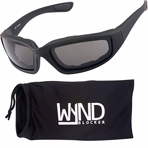 WYND Blocker Polarized Motorcycle & Fishing Floating Sports Wrap Sunglasses (Black/PZ Smoke Lens)