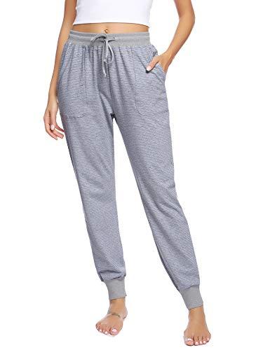 Hawiton Damen Schlafanzughose lang Pyjamahose Baumwolle Gestreifte Nachtwäsche Hose für Sport,Jogging,Training,Yoga Grau XL