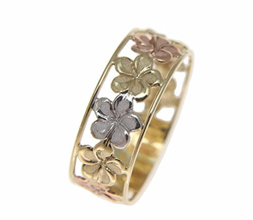 14K solid tricolor yellow white rose gold Hawaiian plumeria flower lei ring 6.5mm size 9 14k Gold Hawaiian Flower