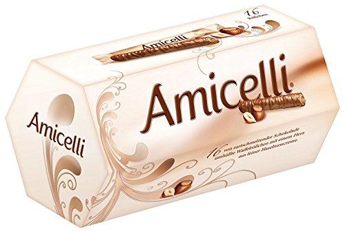 Amicelli, Röllchen mit Haselnußcreme und Milchschokolade, 16 Stück - 200gr - 6x