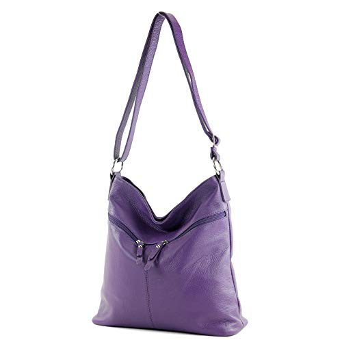 modamoda de - T196 - ital Umhänge-/Schultertasche aus Leder, Farbe:Purple