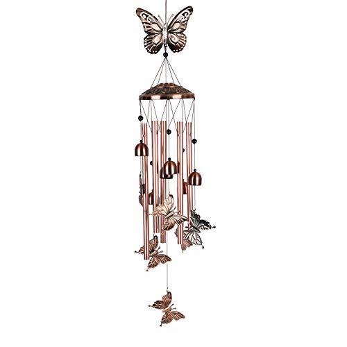 Beisky Großes Schmetterlings-Windspiel für den Außenbereich, tiefer Ton, Gedenk-Windspiel mit 5 Röhren, Metall-Windspiele für draußen, geeignet für Haus, Terrasse, Veranda, Garten oder Hinterhof