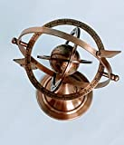 Decor hunt Antique Brass Armillary Sphere with Sundial Arrow Nautical Maritime Astrolabe Engraved Globe