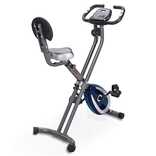 Ultrasport Heimtrainer F-Bike, LCD-Display, klappbarer Hometrainer, opt. Mit Rückenlehne, verstellbare Widerstandsstufen, mit Handpulssensoren, faltbarer Fahrradtrainer, für Sportler und Senioren
