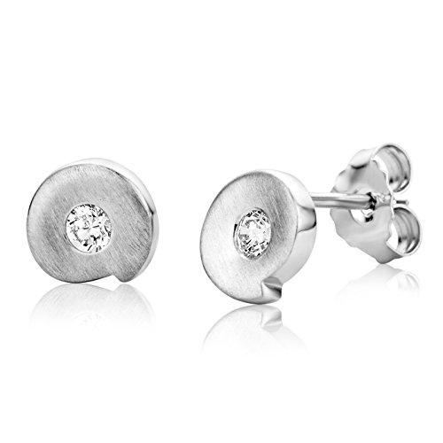 Miore Ohrringe Damen Ohrstecker Silberfarbig 925 Sterling Silber  mit Rundschliff Zirkonia Steinchen