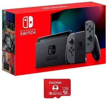 Nintendo 32GB Switch with Gray Joy Con Controllers with SanDisk 128GB UHS I microSDXC Memory product image