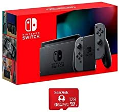 Nintendo 32GB Switch with Gray Joy-Con Controllers - with SanDisk 128GB UHS-I microSDXC Memory Card for The Switch