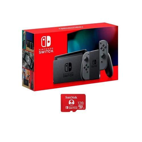 Nintendo 32GB Switch com Grey Controladores Joy-Con - com a SanDisk 128GB UHS-I cartão de memória microSDXC para o interruptor