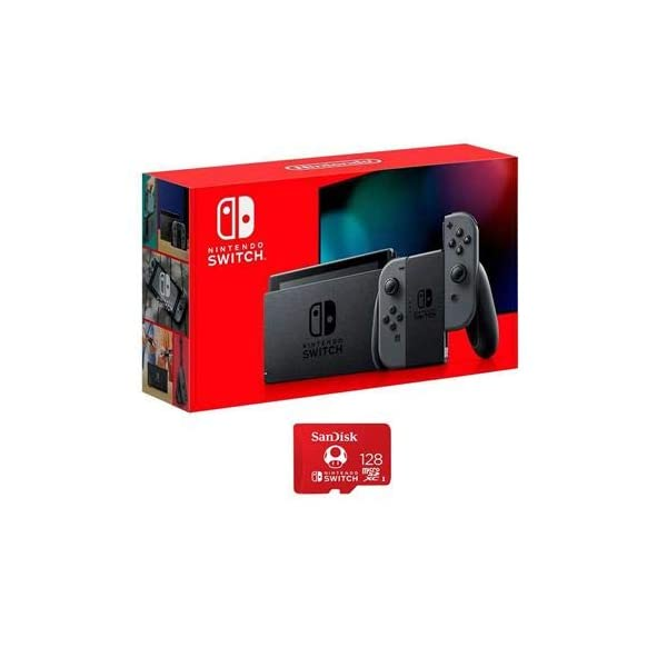 Nintendo 32GB Switch with Gray Joy-Con Controllers – with SanDisk 128GB UHS-I microSDXC Memory Card for The Switch