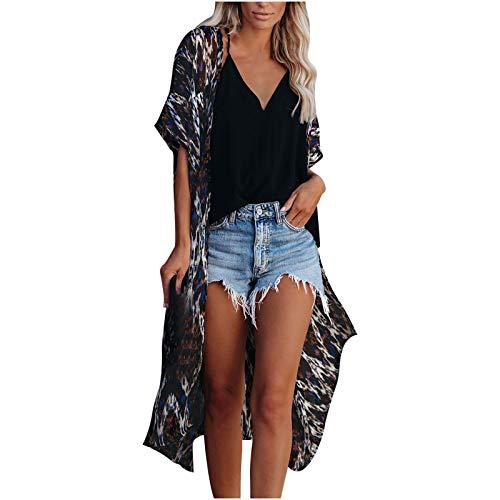 Women's Chiffon Kimono Cardigan Swimsuit Covers Sexy Beach Bikini Cover-up Coat Long Blouse Loose Tops (Black,S)