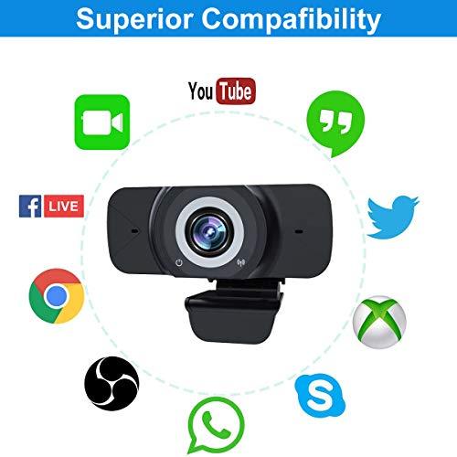 Webcam Full HD 1080P USB Kamera Anschließen und nutzbar mit eingebautem Mikrofon für Laptop Desktop mit Videokonferenzen