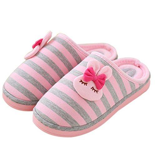 KUKI Pantofole, Ciabatte in Cotone Coniglio a Righe, Mezza Imbottitura Inferiore Femmina con Camicia da Notte, US6.5-7 / EU37 / UK4.5-5 / CN37