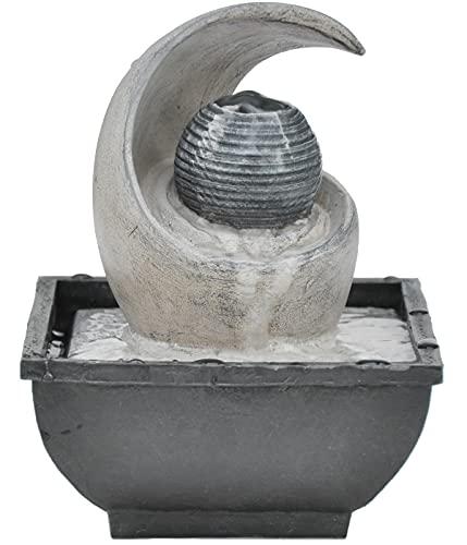 Dehner Zimmerbrunnen Mond, ca. 18 x 13 x 13 cm, Polyresin, grau/beige