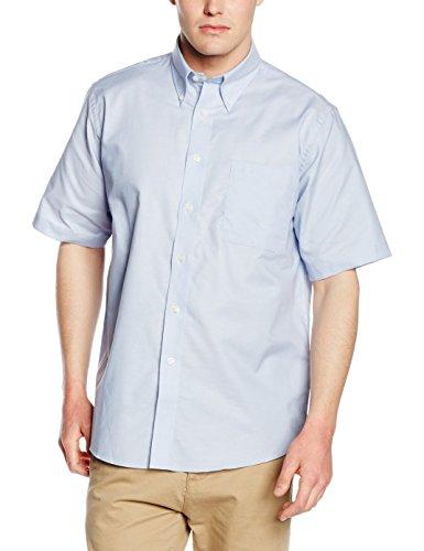 Fruit of the Loom Herren Oxford Businesshemd Oxford Short Sleeve, Blau (Oxford Blue OD), XXX-Large (Herstellergröße: 18.5