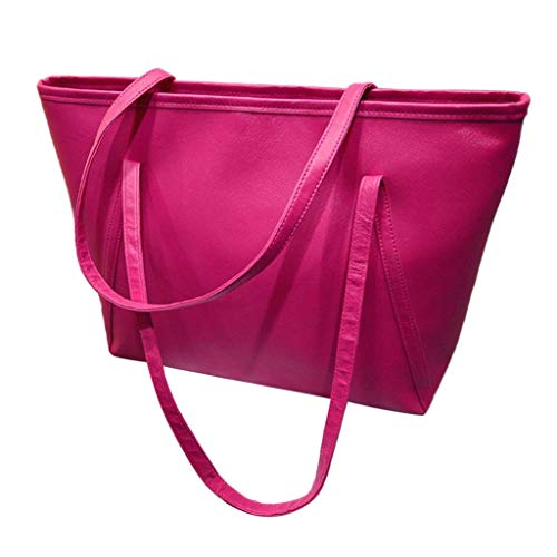 Vielgluck_Bag Diaper Bag Faux Leather Tote for Women Shoulder Bag Handbag Large Capacity Casual Bag Work Tote (Hot Pink)