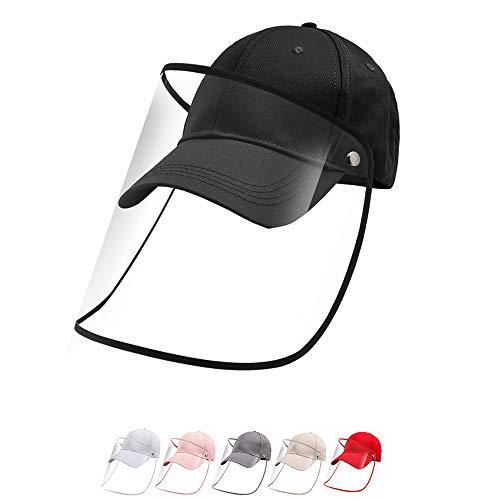 Snapback Caps für Damen und Herren Anti-Speichel/Nebel/Staub/Sand/Sonnenhutz mit Transparenter Maske Baseball Cap Classic Fischerhut Mädchen Schwarz Basecap Einstellbare Größe Schutz für Unisex